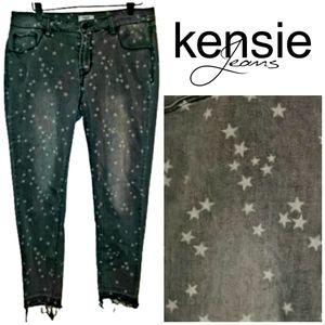 Kensie Star Print Skinny Jeans High Rise Black  10